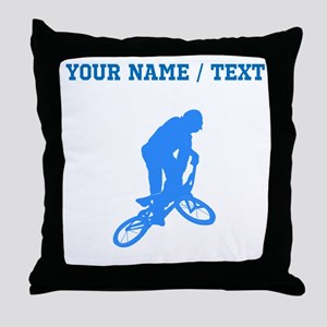Custom Blue BMX Biker Silhouette Throw Pillow